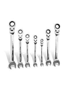 Set de llaves combinadas con matraca cabeza flexible 7 pzs
