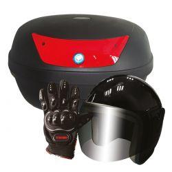 Paquete caja para moto 42 lts (Guantes  y casco)
